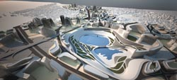 Zaha Hadid's master plan for the Kartal area of Istanbul, with the Sea of Marmara visible at the top.